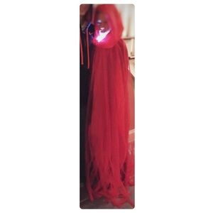 Costume red cape- hooded, netting, lined